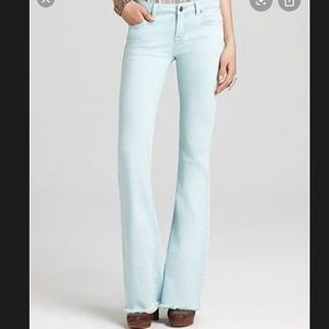 Free People Pale Blue Frayed Bell Bottom Jeans